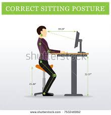 Desk Height Ergonomics Height Adjustable Standing Desks Correct Poses Stock Vector