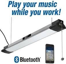 commercial electric 3ft led shop light led shop light with bluetooth speakers hanging work chain brushed