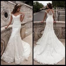 vintage mermaid wedding dress full length scoop neck bridal gown