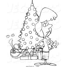 vector of a cartoon woman standing by a christmas tree with an