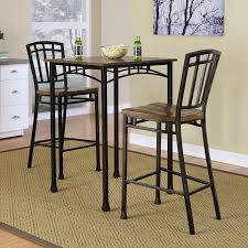 home styles manhattan black pub table set with stainless steel