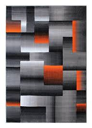 Modern Style Area Rugs Masada Rugs Modern Contemporary Area Rug Orange Grey Black 8
