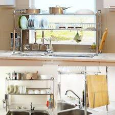 over the sink dish drying rack 2 tier sink dish drying rack stainless steel large dorm kitchen
