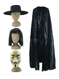 v for vendetta costume v for vendetta fawkes black costume accessories