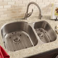satin nickel faucet with stainless steel sink