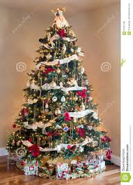 decorated christmas tree in modern living room stock photo image