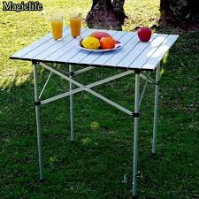 aluminum portable picnic table ancheer portable aluminum roll up table folding desk cing outdoor