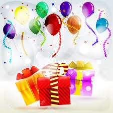 gifts in balloons gifts in boxes on a striped colored background of balloons