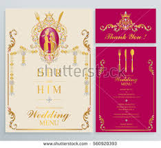 indian wedding menu card templates gold stock vector 595629692