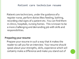 Cover Letter For Patient Care Technician Resume Dialysis Technician Resume