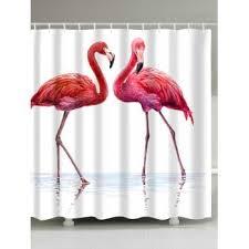 Flamingo Shower Curtains Bathroom Waterproof Fabric Flamingo Bath Curtain Pink W Inch L