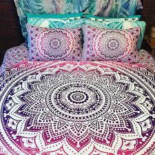 ombre mandala boho duvet cover queen indian quilt cover cotton