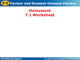 holt mcdougal algebra factors and greatest common factors write
