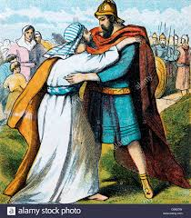 bible stories illustration of jacob and esau embracing after