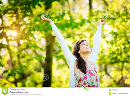 blissful woman enjoying freedom on spring royalty free stock
