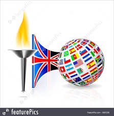 Country Flags England Illustration Of England Flag With Olympic Torch