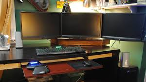 Build A Wood Desk Top by Build Your Own Triple Monitor Wood Mount Lifehacker Australia