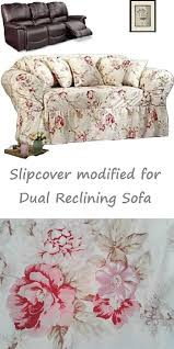 reclining sofa slipcover shabby floral antique rose surefit couch