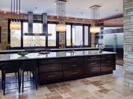 wood countertops kitchen with large island lighting flooring