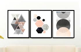 triptych wall art geometric prints set of 3 prints