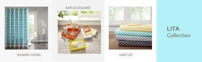 amazon com lita geometric grommet top window curtain pair orange