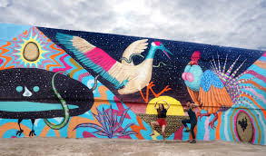 m ting d nce aaron glasson celeste byers and i mating dance fertility mural in san diego from left to right dancing for the ladies it s a male bird of paradise a crane