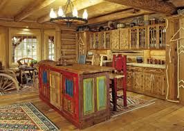 reclaimed wooden rustic kitchen island under iron chandelier and