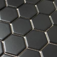 glossy black mosaic hexagon porcelain tiles backsplash tile