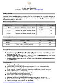 Sample Accountant Resume Resume Sample For Experienced Chartered Accountant 1 Career