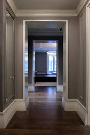 duraseal stain hall contemporary with baseboard crown molding dark