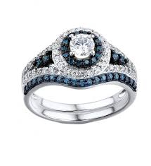 blue diamond wedding rings 1 1 6 carat blue diamond engagement ring and matching band in 14k