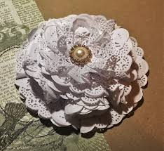 diy how to make a paper doily flower youtube