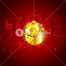 musical notes background with disco ball royalty free stock image