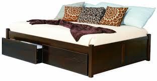 Flat Platform Bed Dark Brown Melamine Finished Walnut Wood Flat Platform Bed With
