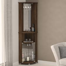 Mirrored Bar Cabinet Boahaus Corner Bar Cabinet With Mirrored Wall Reviews Wayfair