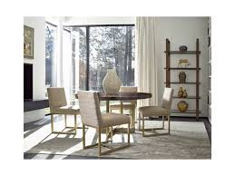 universal modern gibson round dining table with brushed brass base