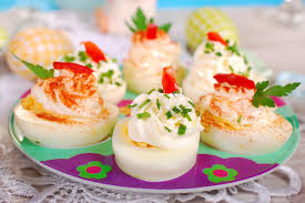 stuffed easter eggs stuffed eggs with cheese and mayonnaise for easter stock image