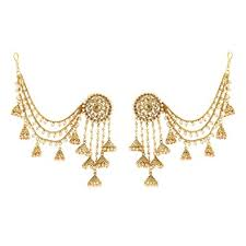 jhumka earrings with chain buy sanjog premium 18k gold plated lct color polki pearl