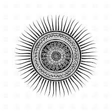 mayan sun symbol round tattoo ornament royalty free vector clip