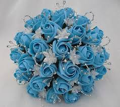 turquoise roses artificial wedding flowers brides posy bouquet in turquoise