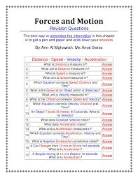 Speed Velocity And Acceleration Worksheet With Answers Forces And Motion