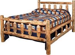 Wood Log Bed Frame Amish Lodge Pole Log Bed