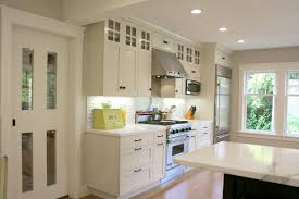 Transitional White Kitchen - charming transitional white kitchen cabinets with white wall glass