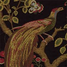 Bulk Upholstery Fabric Grand Phoenix Onyx Jacquard Floral Bird Upholstery Fabric 30430
