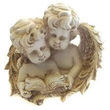 cherub ornament figurine sculpture wings pair reading