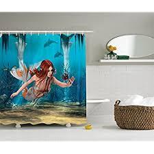 amazon com mermaid decor shower curtain set by ambesonne mermaid