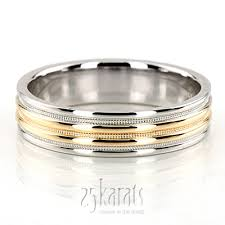 two tone wedding rings two tone milgrain wedding ring tt212 14k gold