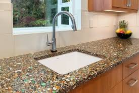 Recycled Glass Backsplashes For Kitchens Cool Luxury Recycled Glass Countertop Intended For Rustic Kitchen