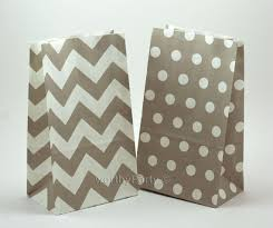 paper favor bags gray chevron polka dot kraft paper popcorn stand up bags party