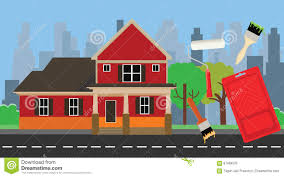Painting House by Home Paint Painting With House And Color Tools Stock Vector